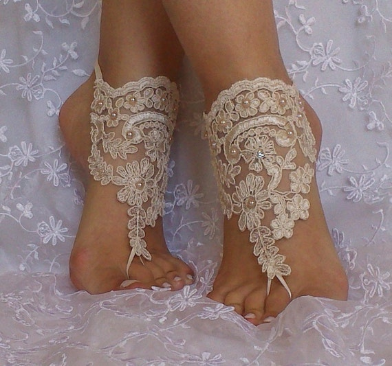Free ship wedding shoe Champagne gothic barefoot sandals wedding prom party steampunk bangle beach anklets bangles bridal bride bridesmaid