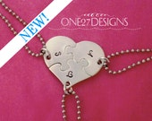 Heart Shaped Puzzle Piece set - 3 Necklaces Hand Stamped Initials  - Bridesmaids - Best Friends - Hand Stamped