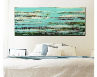 Acrylic Painting, Wall Decor Pond Water reflection 23, original artwork, Landscape Art, Abstract Painting Canvas wallart, Ronald Hunter