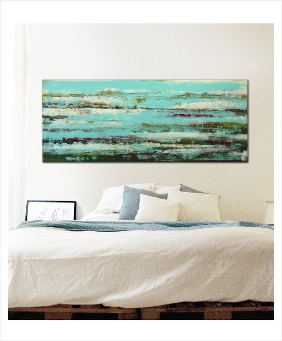 acrylic painting wall decor pond water reflection by. Black Bedroom Furniture Sets. Home Design Ideas