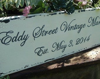 Custom Business Sign Name/ Date Sign Wood Sign Painted Sign 30 x 10