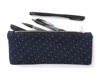 Denim Pencil Case Zipper Pouch Polka Dot