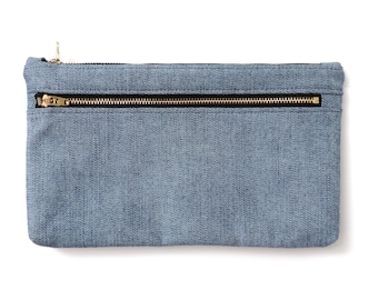 Denim Double Zipper Pouch Cosmetic Bag Clutch Purse