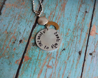 Handmade Love You To The Moon, Metal Stamped Necklace