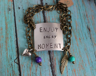 Hand Stamped Enjoy Every Moment Charm bracelet