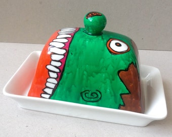 Zombie Face Hand Painted Butter Dish.