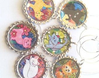 Cats, Wine Glass Charms, Cute Cats, Funny Cats, Wine Charms, Cat Lovers Gift, Crazy Cat Lady, Wine Tags, Cute Cartoon Cats, Cat Lady Gift