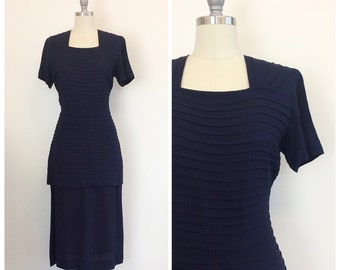 40s Navy Blue Crepe Dress / 1940s Vintage Pin Tucked Wiggle Dress with Back Bustle / Medium / Size 8