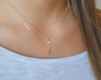 Triple Necklace Set; Personalized Gold Necklace Set; Initial Necklace; Satellite Necklace; Swarovskey Crystal Necklace; Delicate Set;