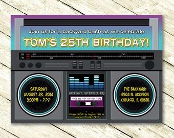 Boombox Birthday Party Invitation for Anyone