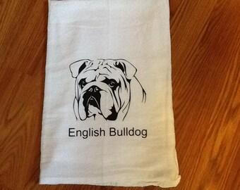 English Bulldog Flour Sack Kitchen Towel