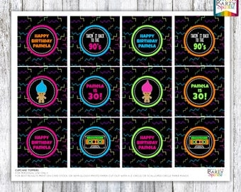 "Back To The 90s Retro BIrthday Party Cupcake Toppers Party Circles - Personalized Digital Printable 8.5x11"" .pdf"