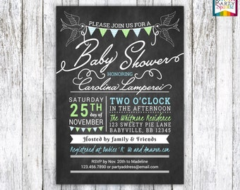 Kraft Paper / Chalkboard Swallows Baby Shower Baby Boy Pastel Blue and Green Personalized - Digital Printable Invitation 4x6 / 5x7 jpg / pdf