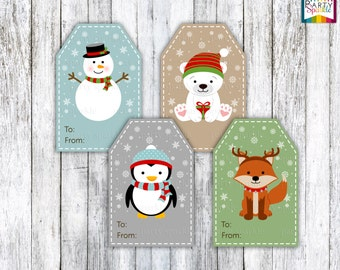 "INSTANT DOWNLOAD 2X3"" Kids Christmas Gift Tags - Snowman, Polar Bear, Penaguin, Fox - Digital Printable Pdf File"