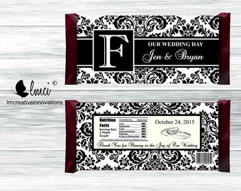 Damask Wedding Candy Bar Wrappers, Baby Shower Favor, Birthday Party Favors, Birth Announcement - Digital File