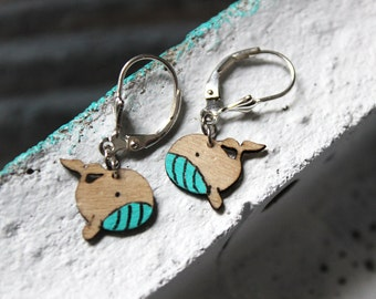 Earrings Whale - 925 silver - turquoise