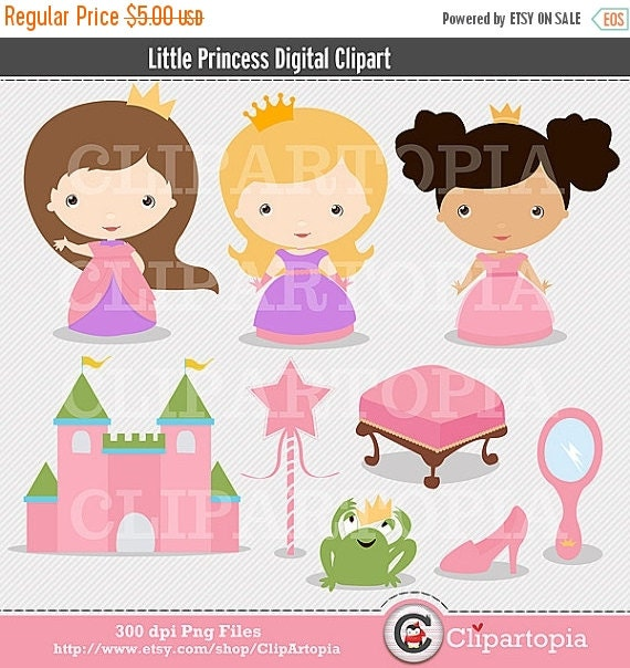 50% OFF SALE Little Princess Cute Princess Digital Clipart For Personal And Commercial Use / INSTANT Download