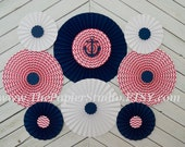Pink and Navy Nautical, Set of Nine (9) Paper Rosettes