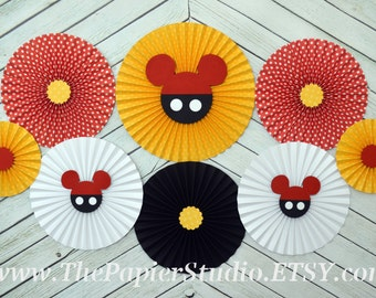 Mickey Mouse Inspired, Yellow and Black, Set of 8 (eight) Paper Rosettes