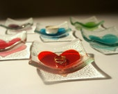 "Heart Glass T-Bowl - Ring Dish, T-Light Bowl, Trinket - Heart T-Bowl - Choose your colour, 6 colours available - 10cm / 4"" diameter"