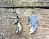 Sterling silver mussel shell necklace, silver shell necklace from port issac cornwall