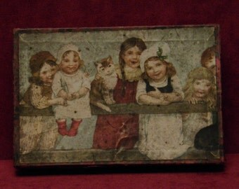 Antique empty cardboard candy container box litho playing children with cat