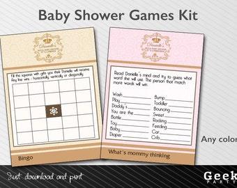 Royal Baby Shower Games Kit - Printable