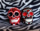 Set of 2 Day of the Dead Sugar Skull statues handmade hand made OHIO USA Ceramic Pottery Tattoo