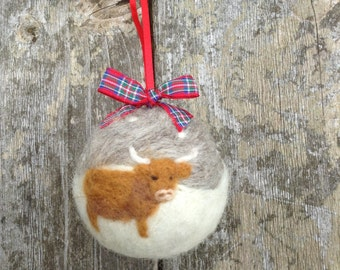 Handmade Needle Felted Bauble Highland cow Christmas Tree Decoration Ornament made from British Shetland sheep wool