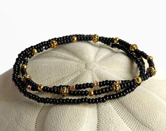 Delicate bracelet, bohemian jewelry, stretch bracelet, mom gift, seed bead bracelet, black and gold, stack bracelet, charm bead bracelet