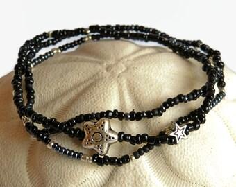 3 black seed bead bracelets, stretch bracelets, star, black and silver, friendship bracelets