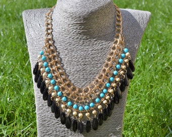 Chain link statement necklace with blue bead detail (free UK shipping)