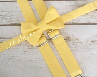 Yellow Bow Tie and Suspender Set | yellow Suspenders | yellow bow tie | easter suspenders | mens tie | bow tie