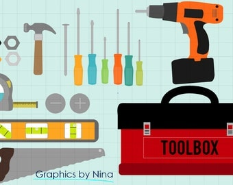 INSTANT DOWLOAD   Toolbox Tools clipart  Scrapbook for Personal and Commercial Use