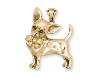 Chihuahua Jewelry 14k Yellow Gold Vermeil Pendant Chihuahua Charms And Chihuahua Jewelry CHW2B-PVM