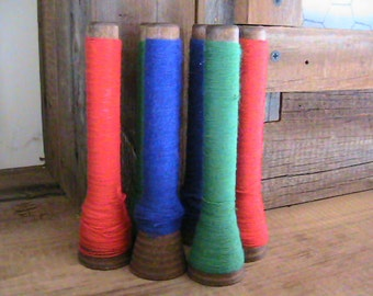Wooden spools, large Vintage beehive type with spun thread, set of 6
