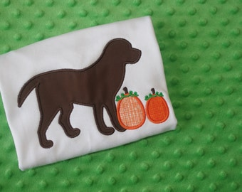 Dog with Pumpkins Appliquéd Shirt