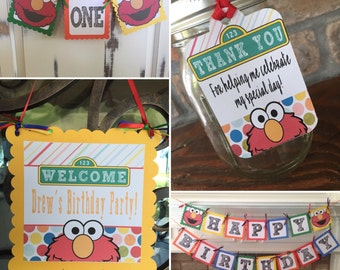 Elmo Sesame Street Birthday Set-Banners, Welcome Sign, Thank you tags