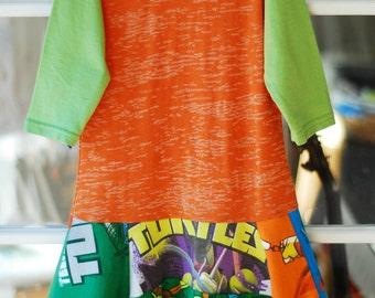 Upcyled eco Ninja Turtles dress, superhero birthday, girls superhero dress, size 6/7