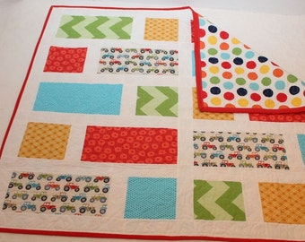 Baby/ Crib/ Child Tractor Quilt - FREE SHIP