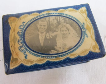 Vintage 1930's Celluloid & Tin Match Box Cover Holder - Wedding Party Photograph