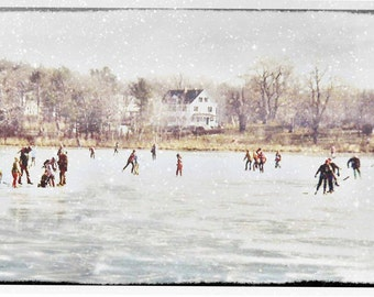 Postcards - Vintage Fine Art Photography, Skating Pond, Snowy Winter New England Scenery, Holiday Cards
