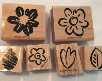Stampin Up 6 Piece Set Flowers Wood Mounted Stamps S17