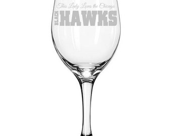 Chicago Blackhawks NHL Hockey Team Etched Wine Glass - Two Designs to choose from!