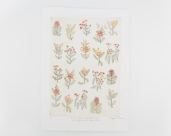 Bird-Heart Bottlebrush And Gumnut Sparklers Original Dry Point - Bloom Voyage