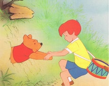 5x Winnie The Pooh Vintage Full Page Childrens Book Illustrations