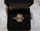Art Deco Camphor Glass Diamond Ring Estate Sterling Silver Ring, 925 Ring Jewelry Graduation,Engagement, Bridesmaid Gif