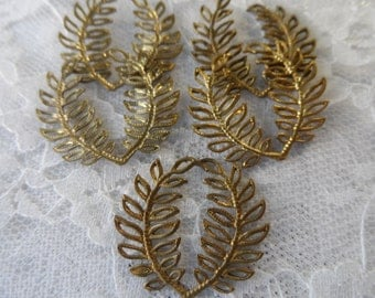 "Raw brass double seaweed charm,1"", 5pcs-CHM46"