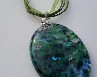 Purple/Green/Clear/Dichroic Fused Glass Pendant/Necklace - Secret Garden