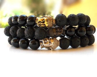 Black Tourmaline Buddha bracelet, Buddha bracelet, Lava Buddha bracelet, EMF Protection bracelet, Black Buddha bracelet, Yoga bracelet